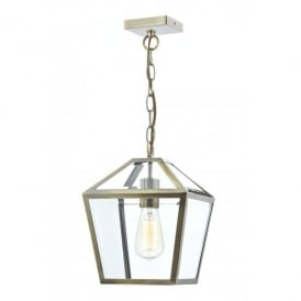 Churchill Single Light Indoor Lantern with an Antique Brass Finish
