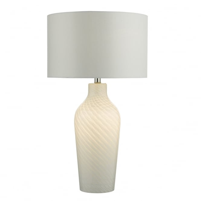 Dar Lighting Cibana Dual Light Source White Glass Table Lamp With White Satin Shade