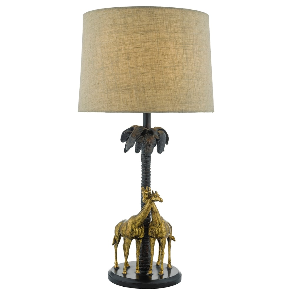 Superieur Citadel Single Light Giraffe Table Lamp In Gold And Bronze Finish Complete  With Natural Linen Shade