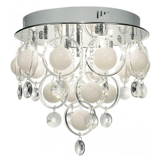Cloud 9 light semi flush ceiling fitting in polished chrome finish