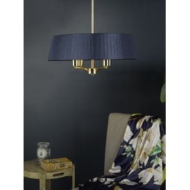 CRI0423 Cristin 4 Light Ceiling Pendant in Satin Brass Finish Complete with Navy Ribbon Shade