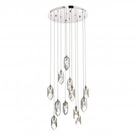 Crystal 12 Light Cluster Ceiling Pendant In Polished Chrome And Crystal Finish