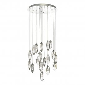 Crystal 18 Light Cluster Ceiling Pendant In Polished Chrome And Crystal Finish