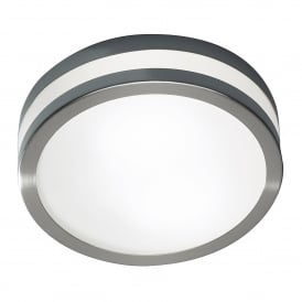 Cyro Single Light LED Bathroom Ceiling Fitting in Satin Steel Finish
