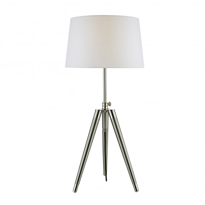 Dar Lighting Dacia Single Light Tripod Table Lamp in Polished Chrome And Brushed Nickel Finish With White Faux Silk Shade