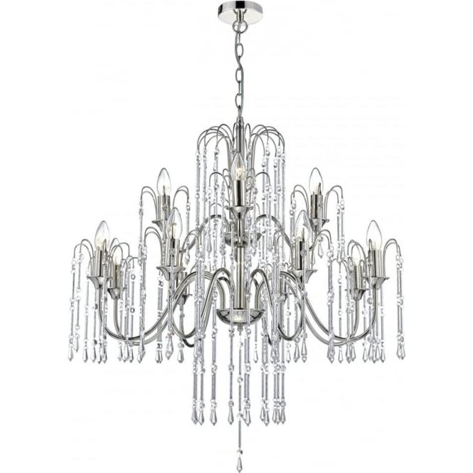 Dar Lighting Daniella 12 Light Chandelier in Polished Nickel Finish with Crystal Glass