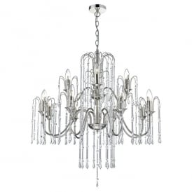 Daniella 12 Light Chandelier in Polished Nickel Finish with Crystal Glass