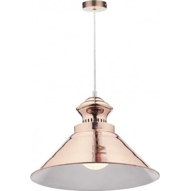 Dar Lighting Dauphine Single Light Ceiling Pendant in a Copper Finish