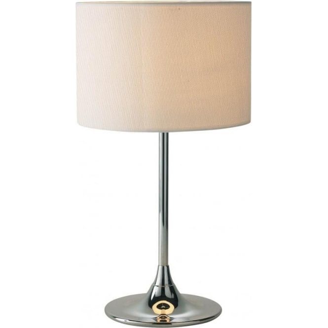 Dar Lighting Delta Table Lamp with a Polished Chrome Finish