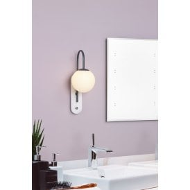 DEU0739 Deuce Single Light Bathroom Wall Fitting In Dark Grey And Marble Finish
