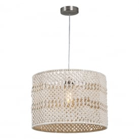 DEV1729 Devyn Pack Of Two Easy Fit Ceiling Pendant Shades Only in Natural Cotton