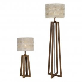 DEV4943 Devyn Single Light Table Lamp And Floor Lamp Twin Pack in Washed Dark Wooden Finish