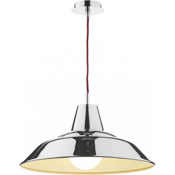 Dar Lighting Digby Single Light Ceiling Pendant in Polished Chrome with Red Cable