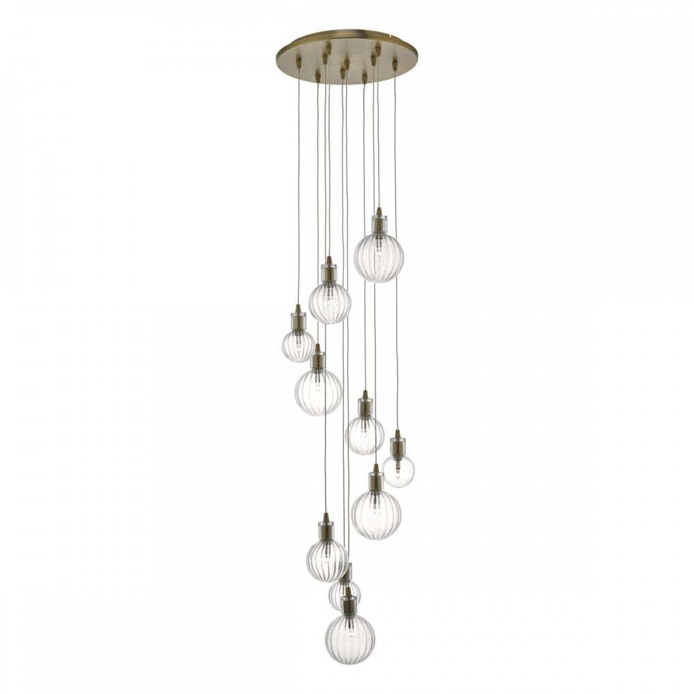 44f0c913398 Dita 10 Light Cluster Ceiling Pendant In Warm Brass Finish With Ribbed  Glass Shade