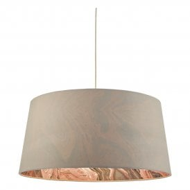 DOL6539 Dolores Easy Fit Pendant Shade in Grey Faux Silk Finish With Coral Marble Effect Inner