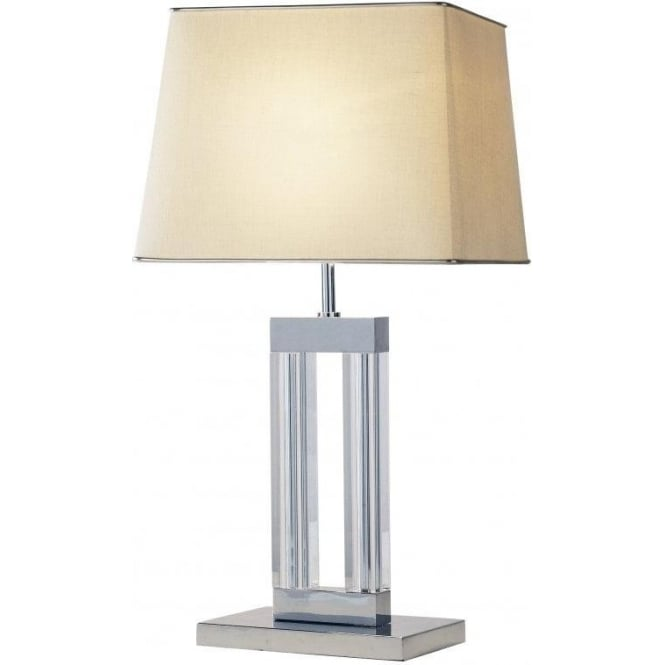 Dar Lighting Domain Single Light Table Lamp in Polished Chrome with Cream Shade