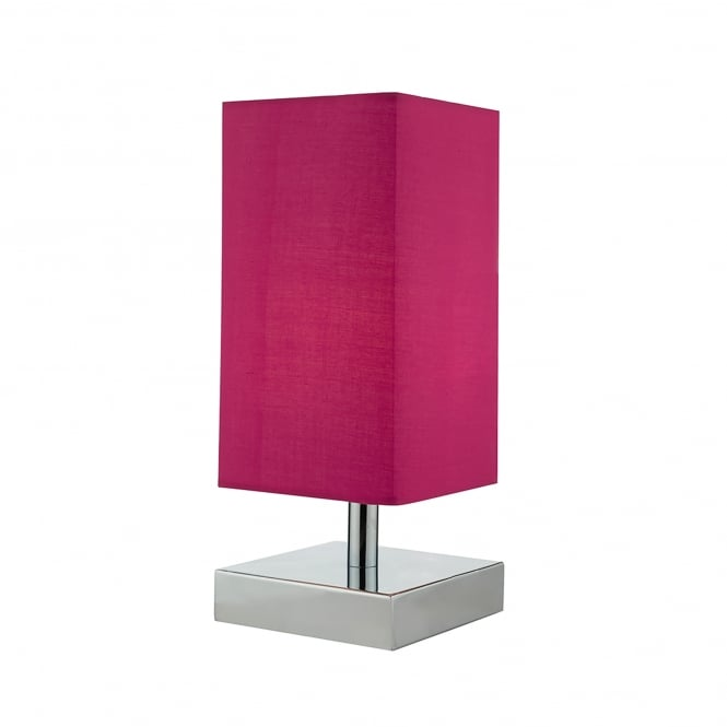 Dar Lighting Drayton Touch Lamp In Polished Chrome Finish With Pink Cotton Shade