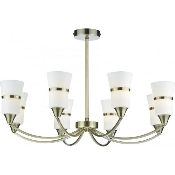Dar Lighting Dublin Large 8 Light LED Ceiling Fixture in Antique Brass with Opal shades