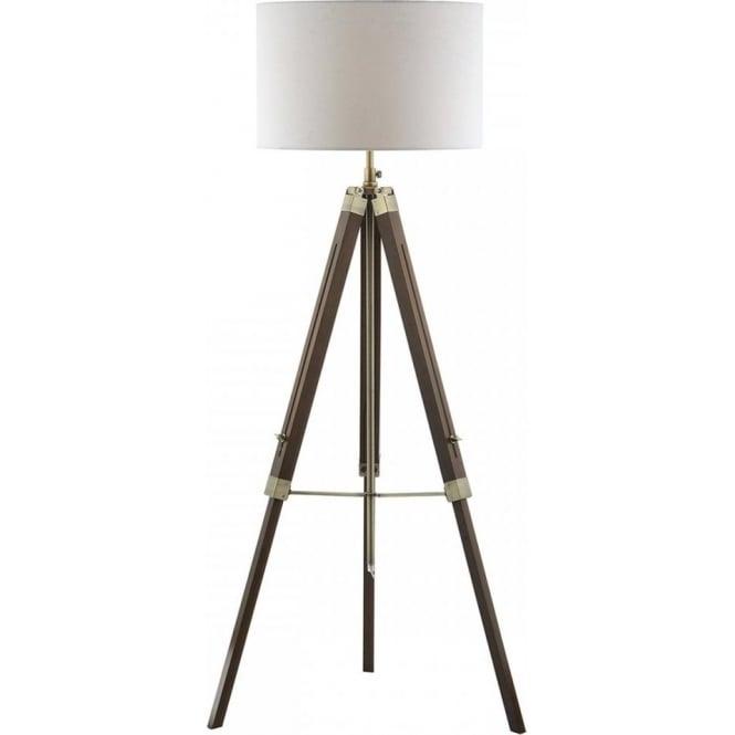 Dar Lighting Easel Single Dark Wooden Tripod Floor Lamp Castlegate