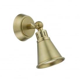 Edo Single Light Wall Spotlight Fitting in Antique Brass Finish