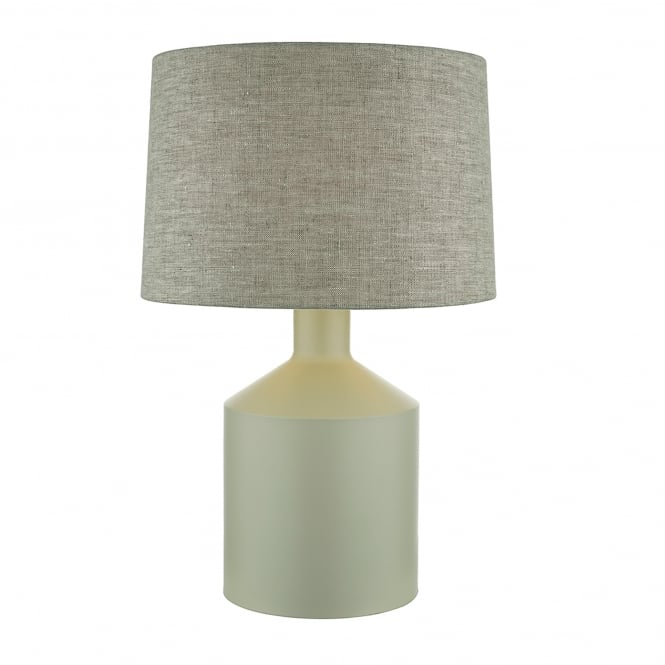 Dar Lighting Eigen Single Light Table Lamp In Pale Grey Finish With Natural Linen Fabric Shade