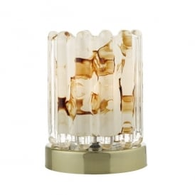ELF4175 Elf Single Light Touch Table Lamp in Antique Brass Finish with Glass
