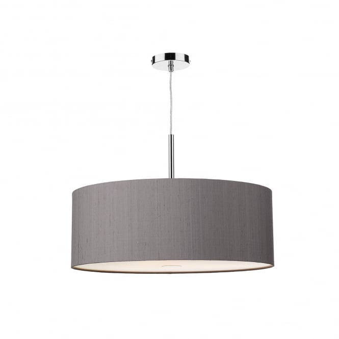 Dar Lighting Ellington 60cm 3 Light Ceiling Pendant With 100% Silk Charcoal Shade