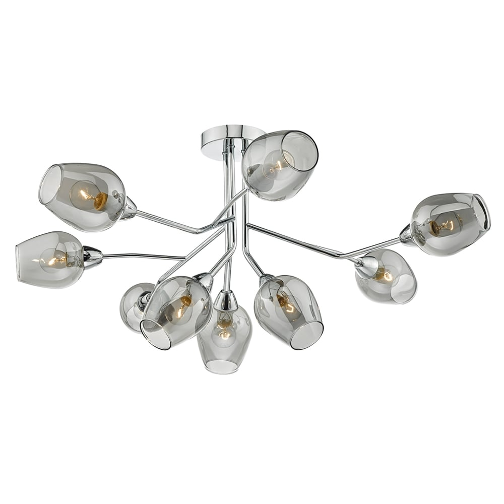 Eloise 9 Light Semi Flush Ceiling Fitting In Polished Chrome Finish With Smoked Glass Shades