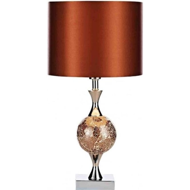Dar Lighting Elsa Single Light Table Lamp With Amber Mosaic Detail And Amber Faux Silk Shade