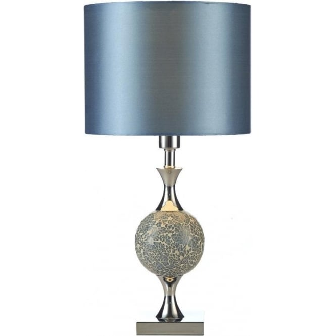 Dar Lighting Elsa Single Light Table Lamp With Blue Mosaic Detail And Blue Faux Silk Shade