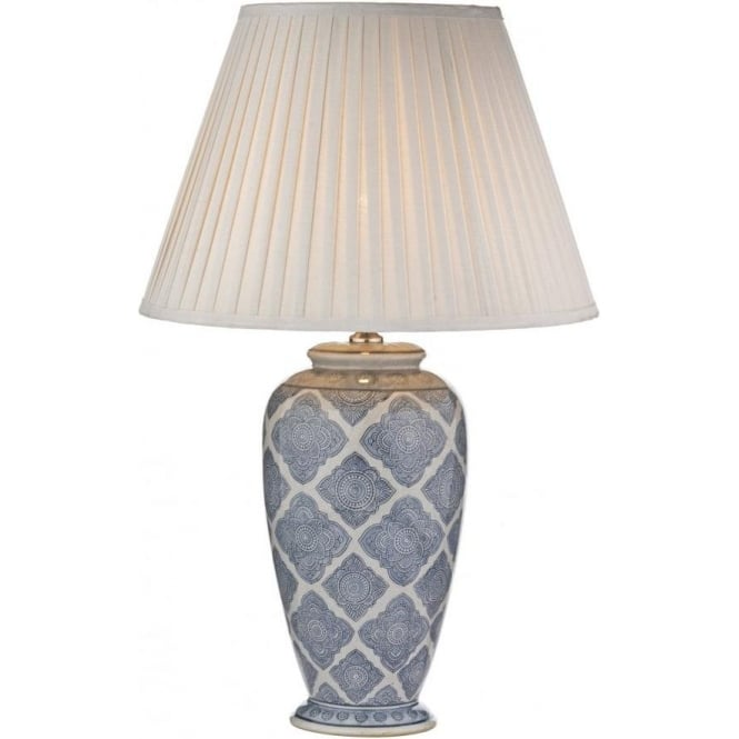 dar lighting ely single light blue and white ceramic table lamp castlegate lights. Black Bedroom Furniture Sets. Home Design Ideas