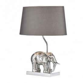 Enrique Single Light Elephant Table Lamp in Antique Silver with Grey Shade