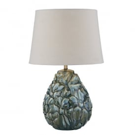 ENS4223/X Ensa Single Light Blue Ceramic Table Lamp With Ivory Cotton Shade