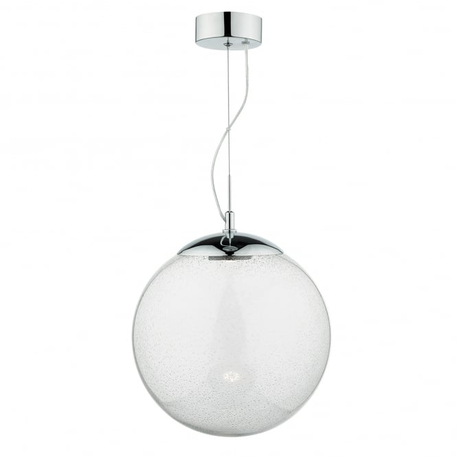 Dar Lighting Epoch Single Light LED Ceiling Pendant In Polished Chrome Finish With Seeded Glass Shade