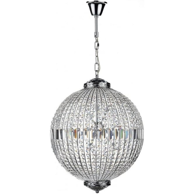 Dar Lighting Equator 12 Light Ceiling Pendant in Polished Chrome with  Crystal Glass Detail