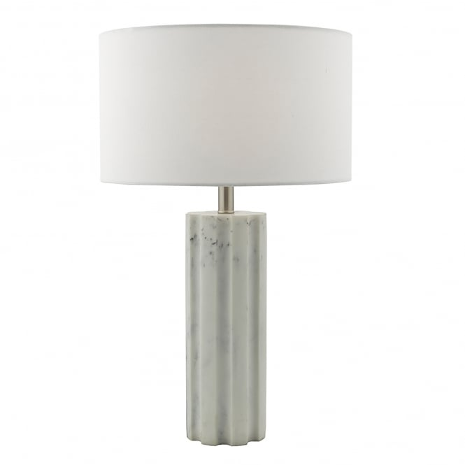 Dar Lighting Erebus Single Light Table Lamp In Pale Grey Marble Effect Finish With White Cotton Shade