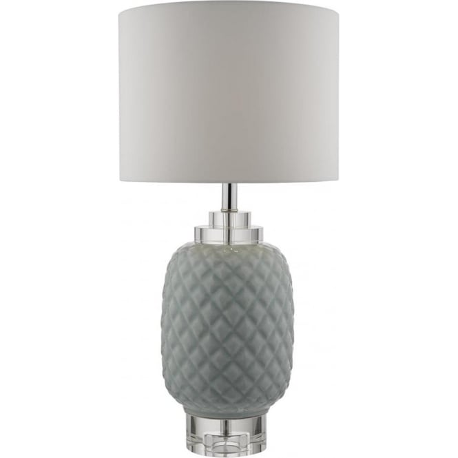 Dar Lighting Ervin Single Light Table Lamp in Pale Blue Ceramic Finish and Crystal Glass