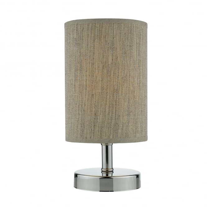 Dar Lighting Eryn Single Light Touch Operated Table Lamp In Polished Chrome Finish With Taupe Linen Shade
