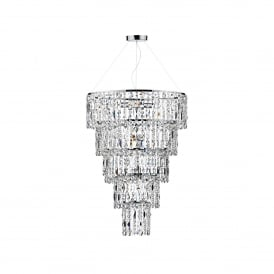 Escala 6 Light Tiered Ceiling Pendant In Polsihed Chrome And Crystal Finish