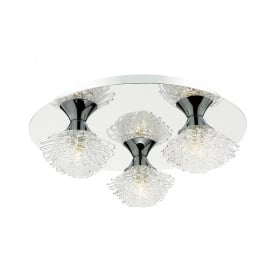 Esme 3 Light Flush Ceiling Fitting In Polished Chrome And Clear Glass Finish