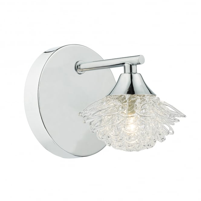 Dar Lighting Esme Single Light Wall Fitting In Polished Chrome And Clear Glass Finish