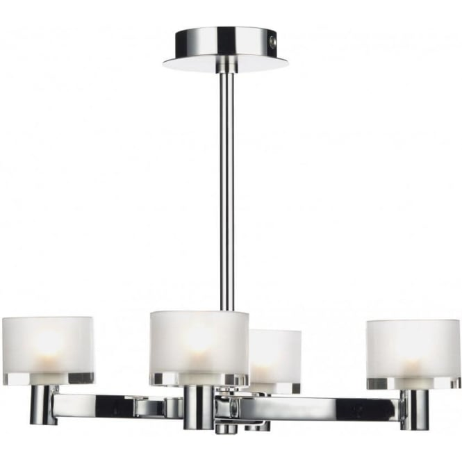 Dar Lighting Eton 4 Light Chandelier Fitting in Satin and Polished Chrome with Glass Shades