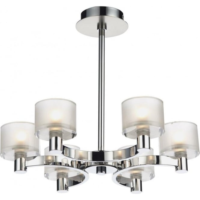 Dar lighting eton 6 light chandelier fitting in satin and polished eton 6 light chandelier fitting in satin and polished chrome with glass shades aloadofball Choice Image