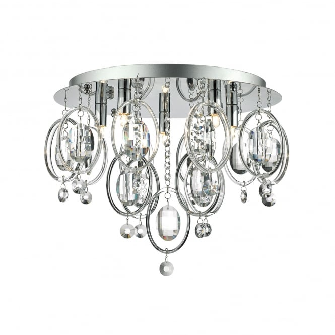 Dar Lighting Evangeline 5 Light Flush Ceiling Fitting In Polished Chrome And Crystal Finish