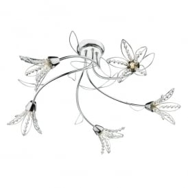 Fabrienne 5 Light Semi Flush Ceiling Fitting in Polished Chrome Finish with Crystal Glass Bead Shades