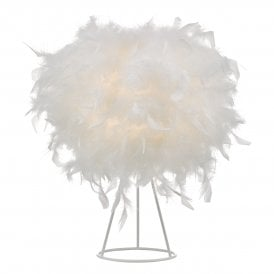 Feather Single Light Table Lamp in White Finish