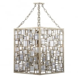 FOY0435 Foyer 4 Light Ceiling Pendant with Antique Silver Gold Finish