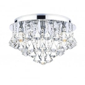 Fringe 4 Light Semi-Flush Crystal Ceiling Fixture in Polished Chrome
