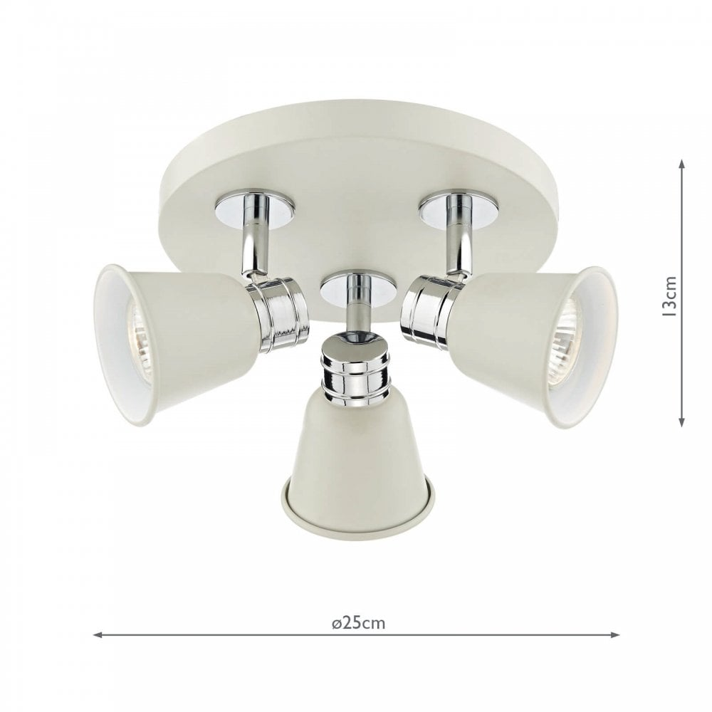 Taupe Grey with Chrome Detail 3 Way Spotlight Plate Kitchen Ceiling Spot Light