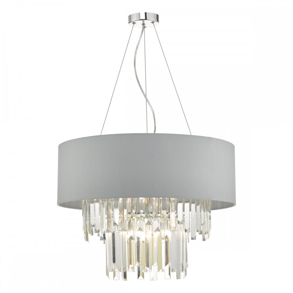 6006ee05428e HAL0639 Halle 6 Light Ceiling Pendant With Satin Grey Shade And Crystal  Detail